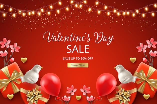 Bannière de vente de la saint-valentin. oiseaux blancs, cadeaux et fleurs avec une guirlande d'ampoules