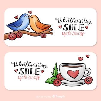 Bannière de vente de saint valentin oiseaux et tasse