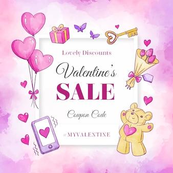 Bannière de vente saint valentin ours en peluche