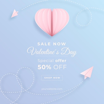 Bannière De Vente Saint Valentin Sur Papier Style Vecteur gratuit