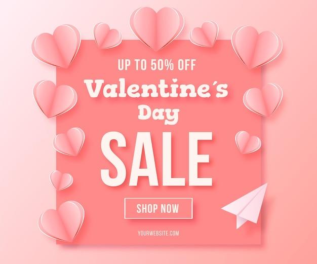 Bannière de vente saint valentin sur papier style