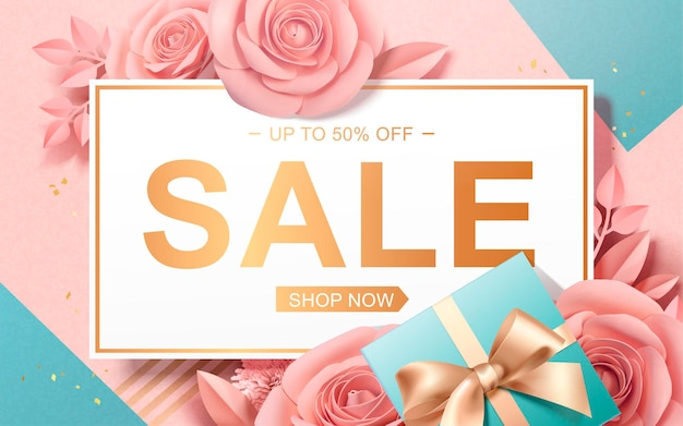 Bannière de vente de la saint-valentin avec des roses en papier et des coffrets cadeaux dans un style 3d