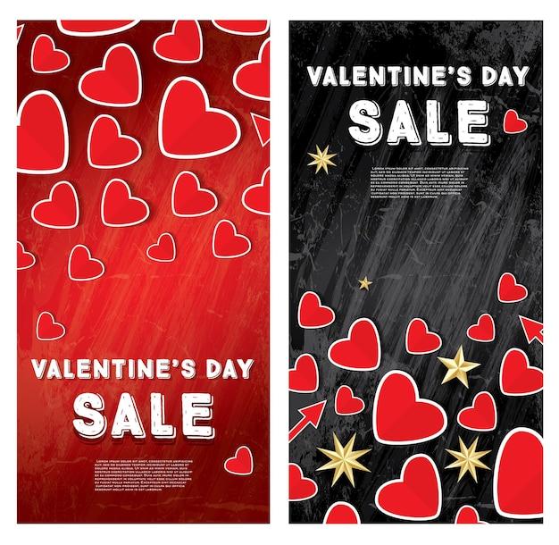 Bannière de vente de la saint-valentin sertie de coeurs rouges. illustration vectorielle.