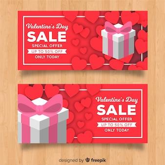 Bannière de vente de saint valentin
