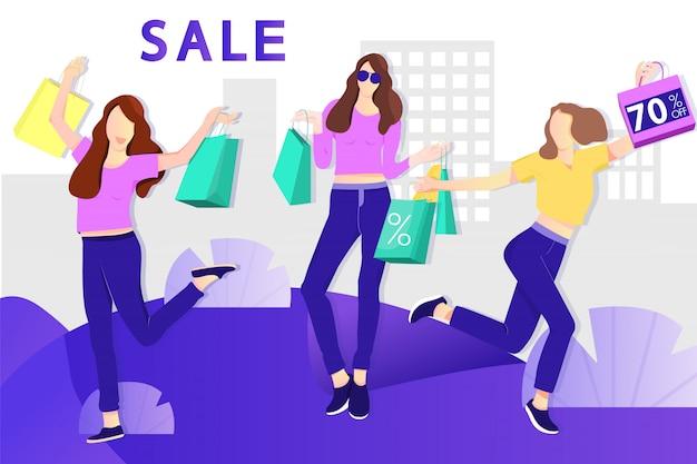 Bannière de vente. shopping filles avec des sacs