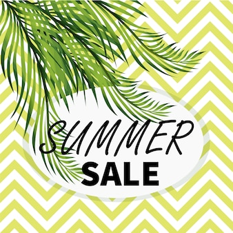 Bannière de vente sociale de l'été avec des feuilles de palmier