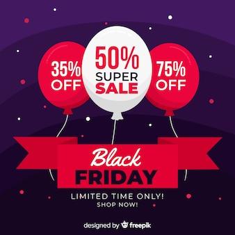 Bannière de vente superbe vendredi noir design plat