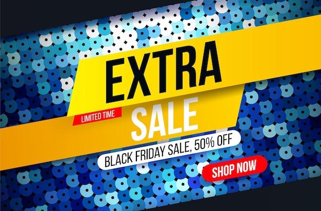 Bannière de vente supplémentaire moderne avec effet de tissu à paillettes bleues pour les offres spéciales, les ventes et les remises