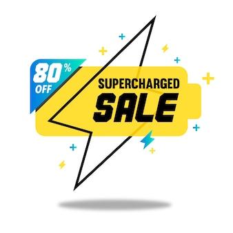 Bannière de vente suralimenté avec la silhouette de la batterie