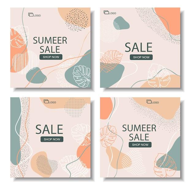 Bannière de vente de taille carrée pour instagram, dessin abstrait floral