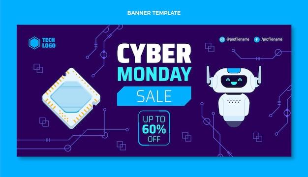 Bannière de vente de technologie cyber lundi design plat