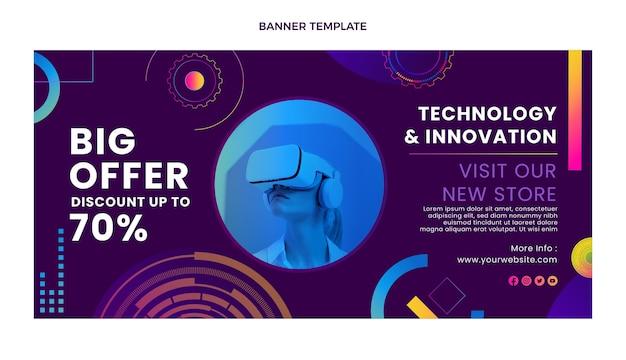 Bannière de vente de technologie de texture dégradée avec remise