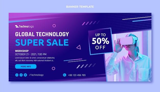Bannière de vente de technologie de texture dégradée