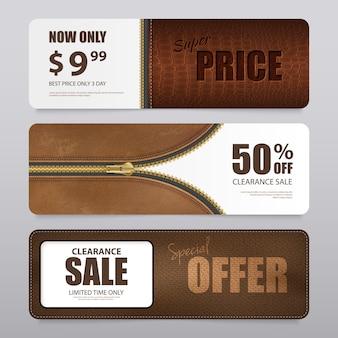Bannière de vente de texture de cuir réaliste