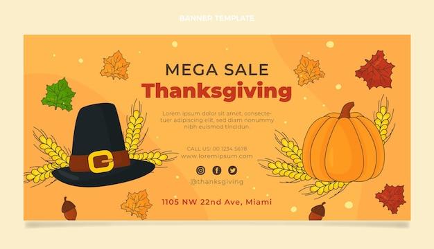 Bannière de vente de thanksgiving horizontale plate dessinée à la main