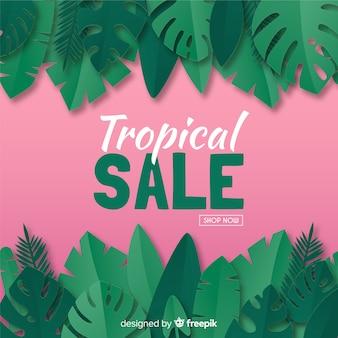 Bannière de vente tropicale