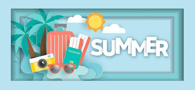 Bannière de vente ummer avec des éléments d'été en style papier découpé
