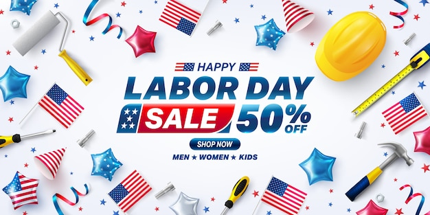 Bannière de vente usa labor day. célébration de la fête du travail des états-unis avec le drapeau américain de ballons.