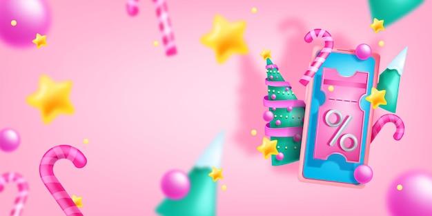 Bannière de vente de vacances de noël vecteur discount festif fond écran de smartphone bon 3d