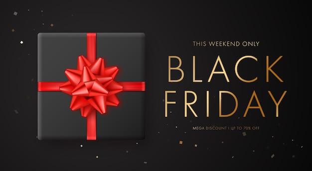 Bannière de vente vendredi noir avec arc rouge