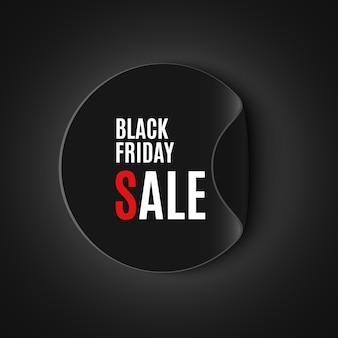 Bannière de vente vendredi noir. autocollant rond. illustration.