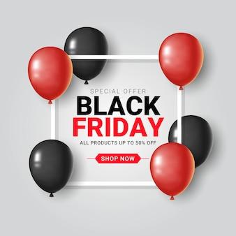 Bannière de vente vendredi noir avec ballons et cadre carré