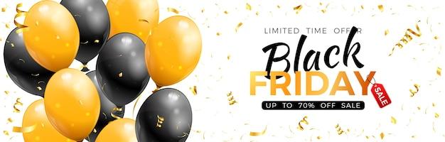 Bannière de vente vendredi noir avec des ballons dorés et noirs brillants, des confettis et un cadre.