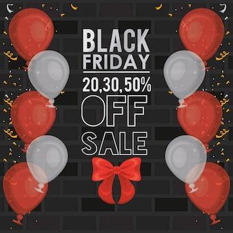 Bannière de vente vendredi noir avec ballons à l'hélium