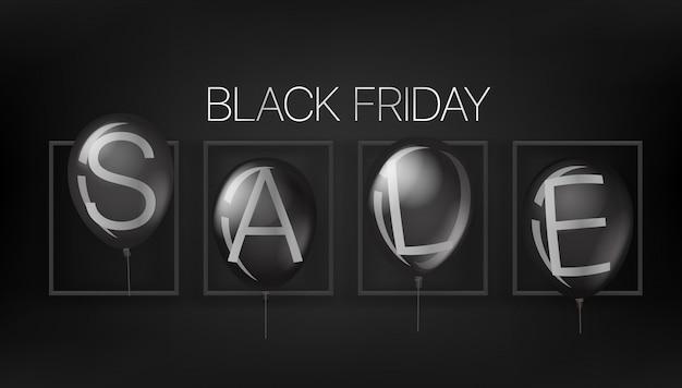Bannière de vente vendredi noir avec des ballons noirs.