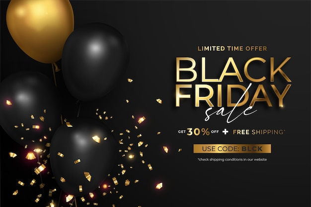 Bannière de vente vendredi noir avec des ballons réalistes et des confettis