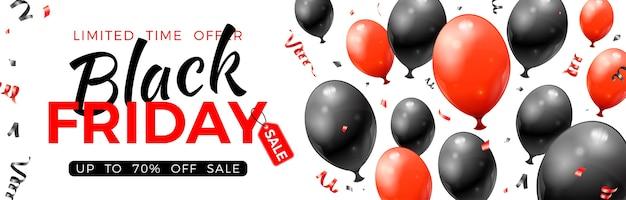 Bannière de vente vendredi noir avec des ballons rouges et noirs brillants, des étiquettes et des confettis.