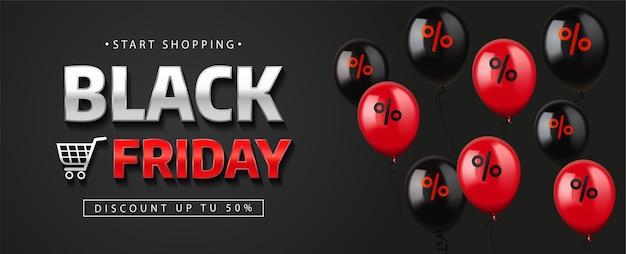 Bannière de vente vendredi noir avec des ballons.