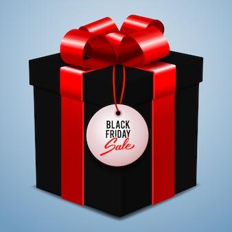 Bannière de vente de vendredi noir, boîte-cadeau noire avec noeud rouge, vente au détail, rabais, offre spéciale