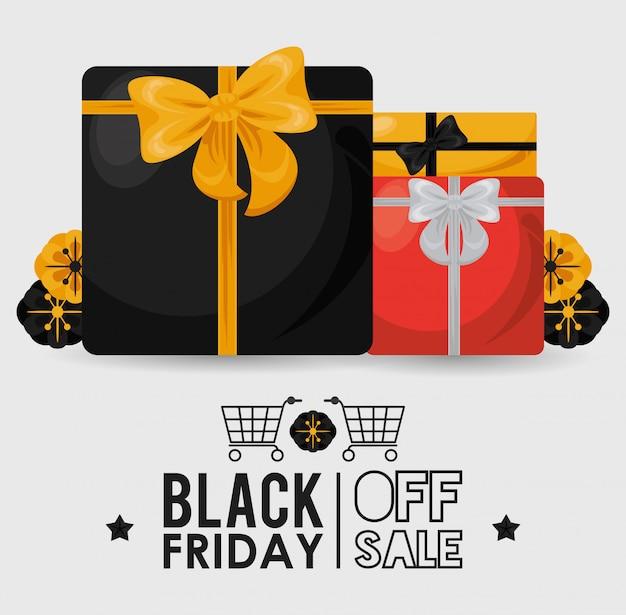 Bannière de vente vendredi noir avec boîtes à cadeaux