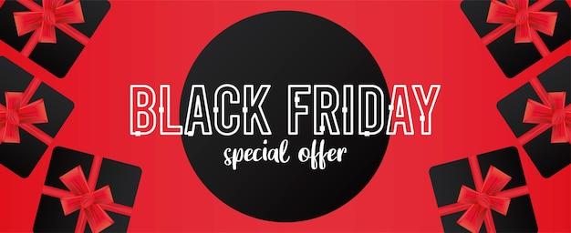 Bannière de vente vendredi noir avec des cadeaux sur fond rouge