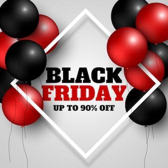Bannière de vente vendredi noir avec cadre et ballons.