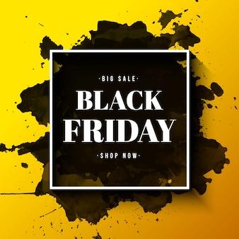 Bannière de vente vendredi noir avec un cadre et une éclaboussure d'aquarelle