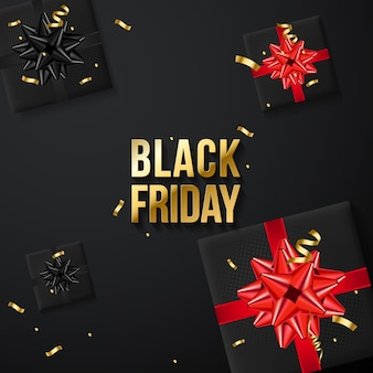 Bannière de vente vendredi noir avec coffrets cadeaux réalistes et confettis or