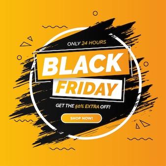 Bannière de vente vendredi noir coloré moderne avec coup de pinceau
