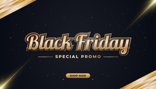 Bannière de vente vendredi noir avec concept noir et or dans un style élégant