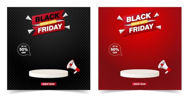 Bannière de vente vendredi noir avec conception de modèle de podium