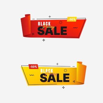 Bannière de vente vendredi noir dans un style géométrique branché