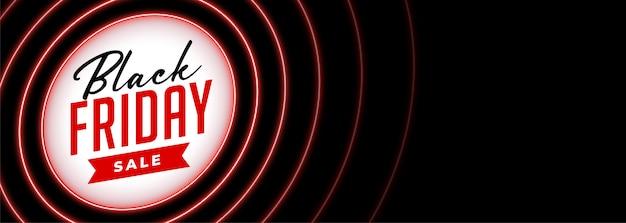 Bannière de vente vendredi noir dans le style néon rouge