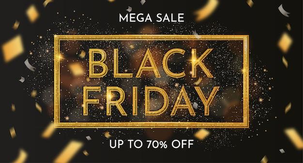 Bannière de vente vendredi noir avec décoration dorée réaliste