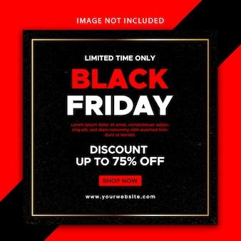 Bannière de vente vendredi noir design plat modifiable et modèle de publication sur les médias sociaux