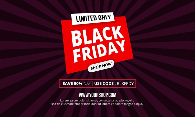 Bannière de vente vendredi noir design plat