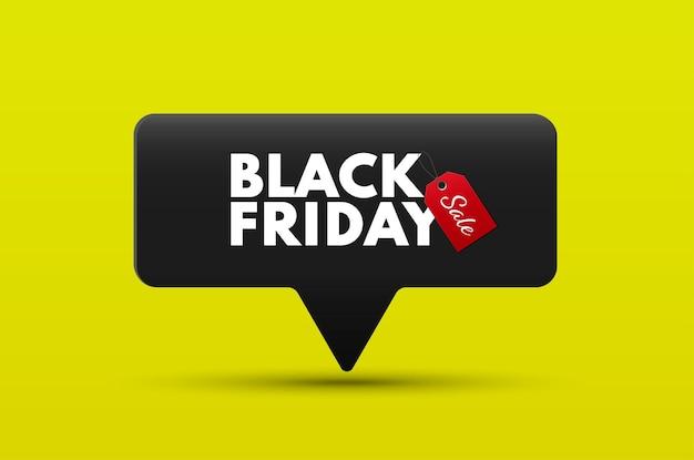 Bannière de vente de vendredi noir avec une étiquette de prix noire isolée sur une bannière publicitaire de vecteur de fond jaune