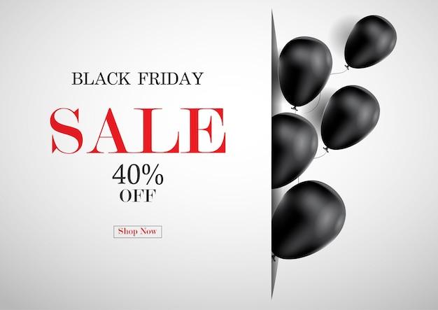 Bannière de vente vendredi noir avec fond de ballon.