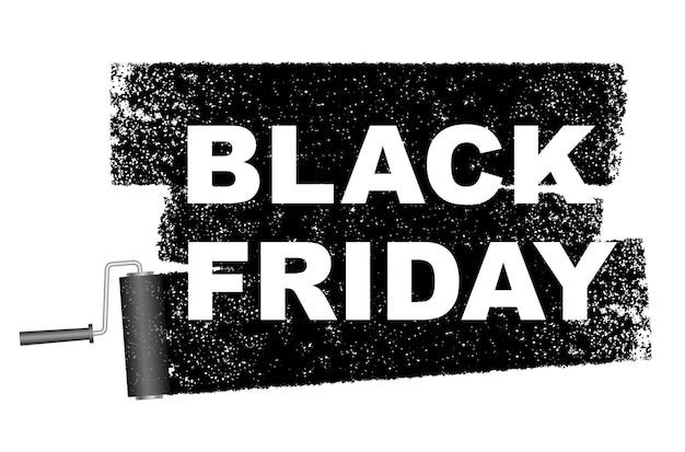 Bannière de vente vendredi noir avec un fond de rouleau de peinture noir.
