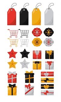 Bannière de vente vendredi noir avec icônes définies